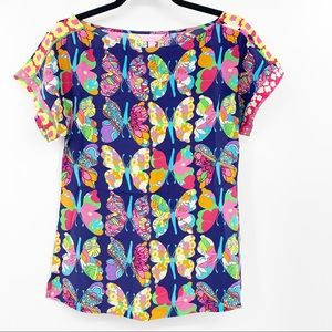 Lilly Pulitzer Butterfly SILK Blouse Butterfly